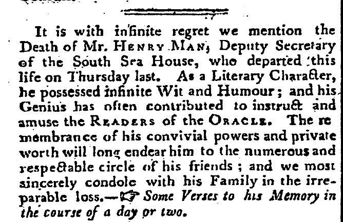 Henry Man Obit