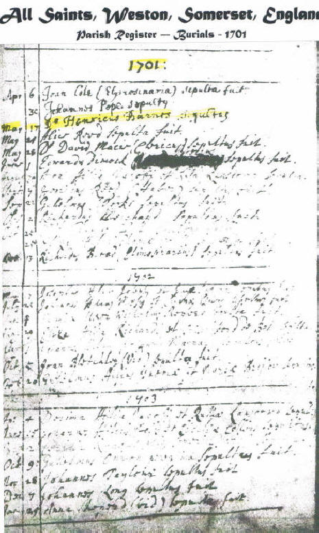 Henry Barnes's Burial Record 17 May 1701