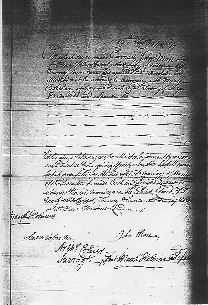 John Man and Mary Balchen's Marriage Licence dated 19 February 1746/47