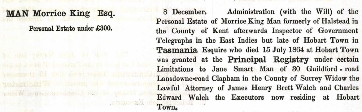 Morrice King Man's probate record