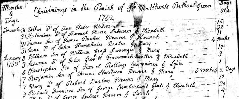 Richard Denison Cumberland Baptism 9 Jan 1753