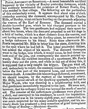 Robert Fowle Shooting Accident Sept 1830