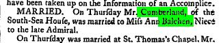 George Cumberland and Elizabeth Balchen's Marriage Announcement
