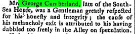 George Cumberland (I)'s Death Announcement