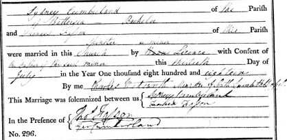 Sydney Cumberland and Frances Fasson Marriage