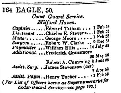 1858 Robert W Clarke Asst Surgeon on HMS Eagle
