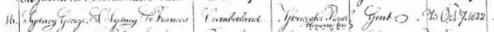 Baptism of Sydney Cumberland's son George St Luke's Chelses 1822
