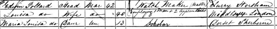 Edwin Pollard father of Arthur and family on the 1861 census