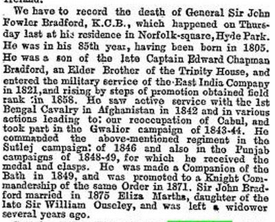 Obit of John Fowler Bradford 15 April 1889