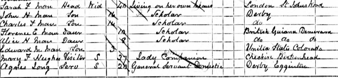 Sarah Farnces Huntley Man on the 1891 census