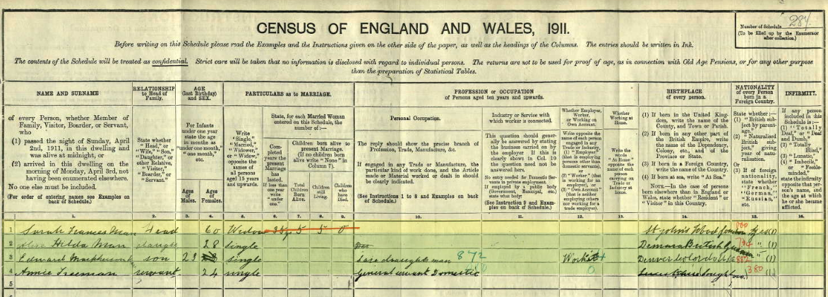 Sarah Farnces Huntley Man on the 1911 census