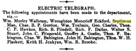 Septimus Man's Appointment to the Indian Electric Telegraph
