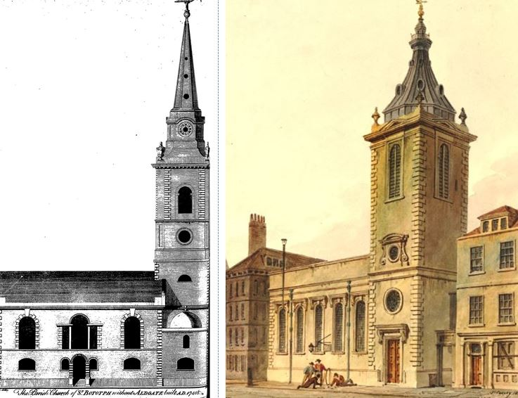 St. Botolph without Aldgate (left) and St. Nicholas Cole Abbot (right).