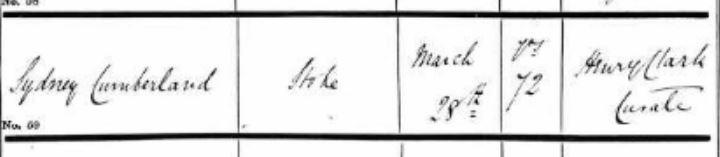 Sydney Cumberland Burial 1868