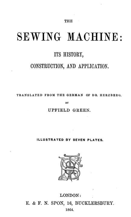 Upfiled Green Sewing Machine Title Page