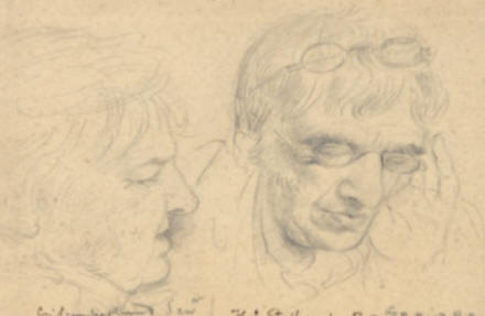 Portrait sketches of George Cumberland & Thomas Stothard By Edward Bird RA (after 1807).