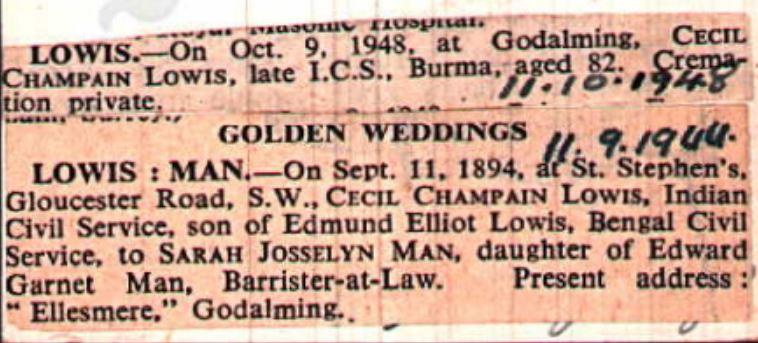 Cecil Lowis Death Notice pluse golden Weddinging Times