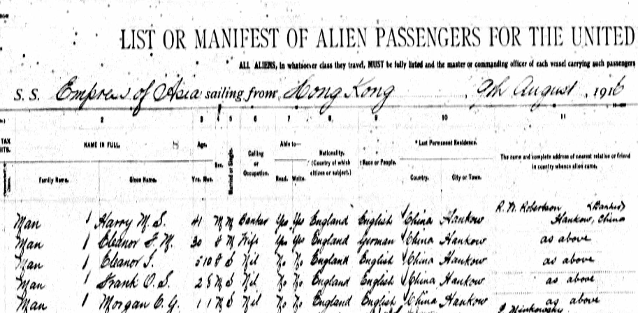 Border Crossing Manifest 1916