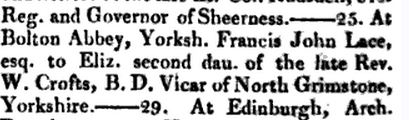 Marriage of Elizabeth Crofts to Francis Lace 1828