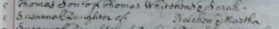 Susannah Balchen Baptism 5 Aug 1716 St Botolph Bishopsgate