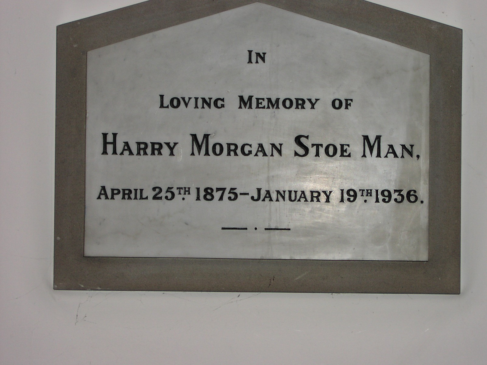 Harry Morgan Stoe Man Memorial at Halstead