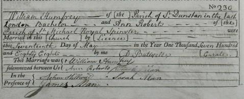 Ann Roberts William Humfrey Marriage