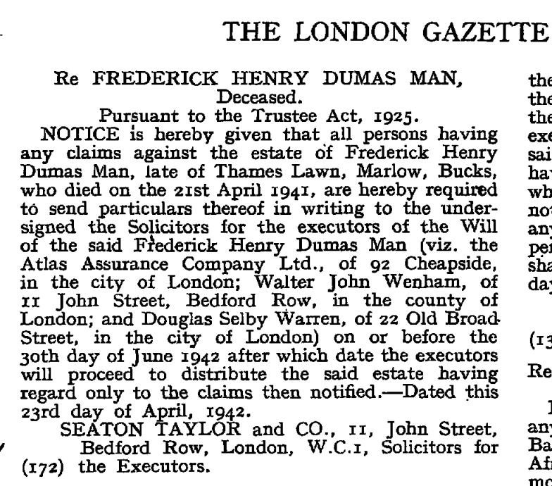 FHD Man London Gazetter 12 Apr 1942