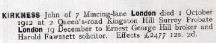 John Kirkness Probate 1912