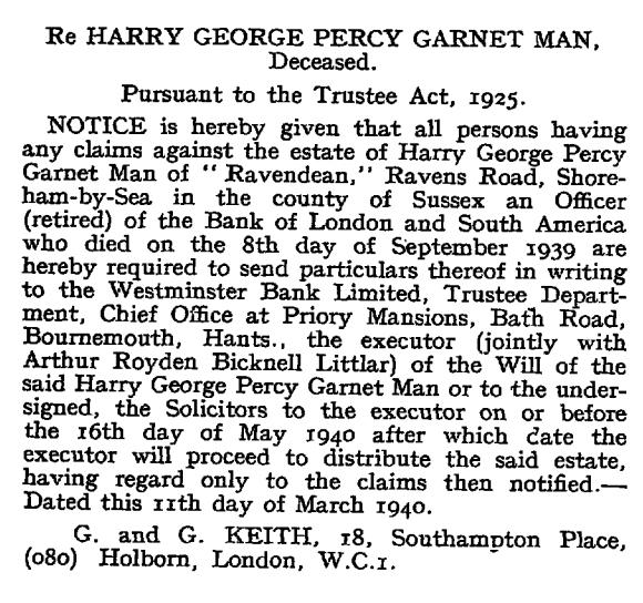 London Gazette 15 March 1940