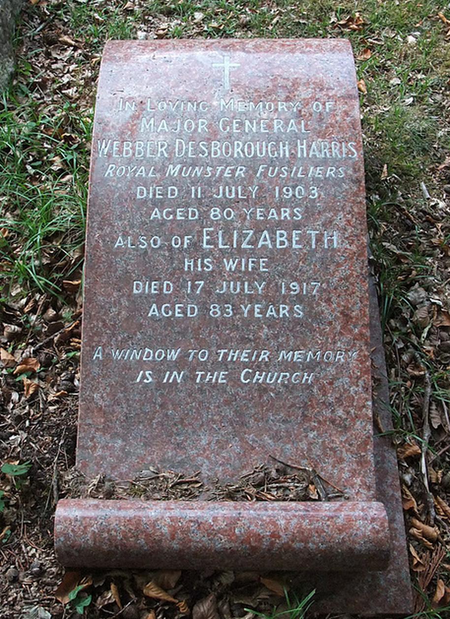 Grave of Elizabeth (Matthews) Webber Harris and her husband at St. Mark's, Ampfield