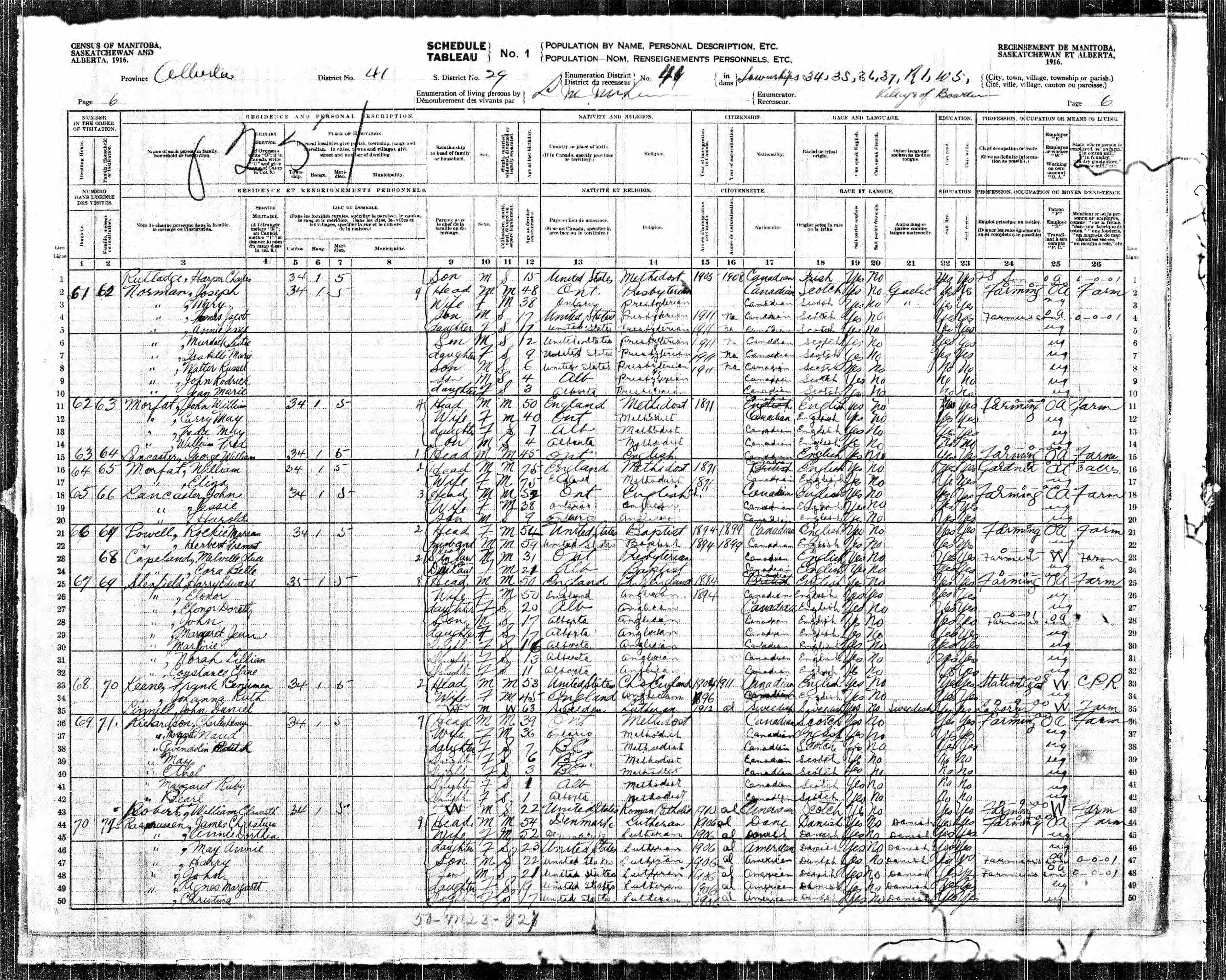 The Shenfield Family on the 1916 Census