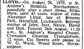 Death of Hilda Lloyd 20 August 1970