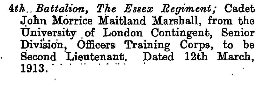 John MM Marshall London Gazette 1913