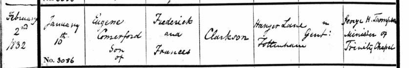 Baptism of Eugene Comerford Clarkson