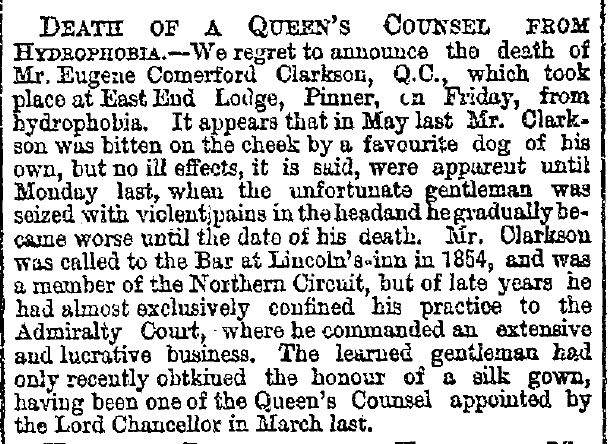 Death of Eugene Comerford Clarkson Aug 22 1881