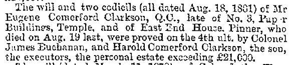 Will of Eugene Comerford Clarkson Notice Dec 9 1881