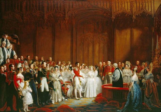 Queen Victoria in her Louis Schwabe wedding dress