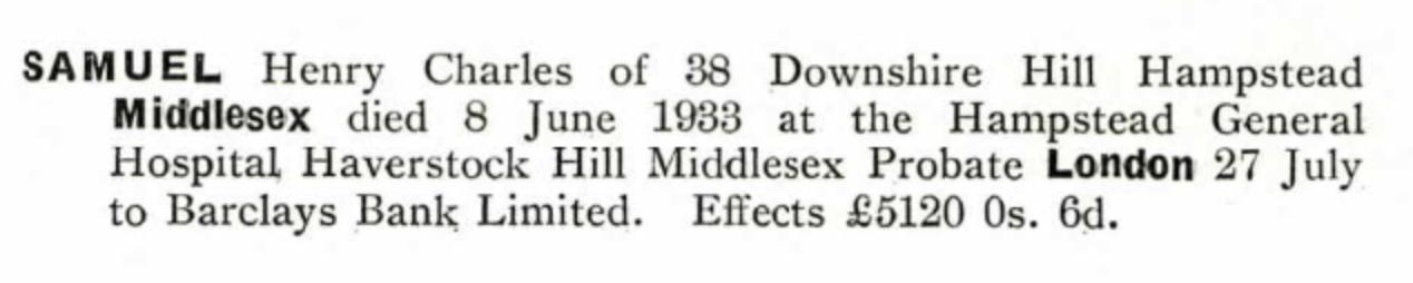 Henry Samuel's probate record