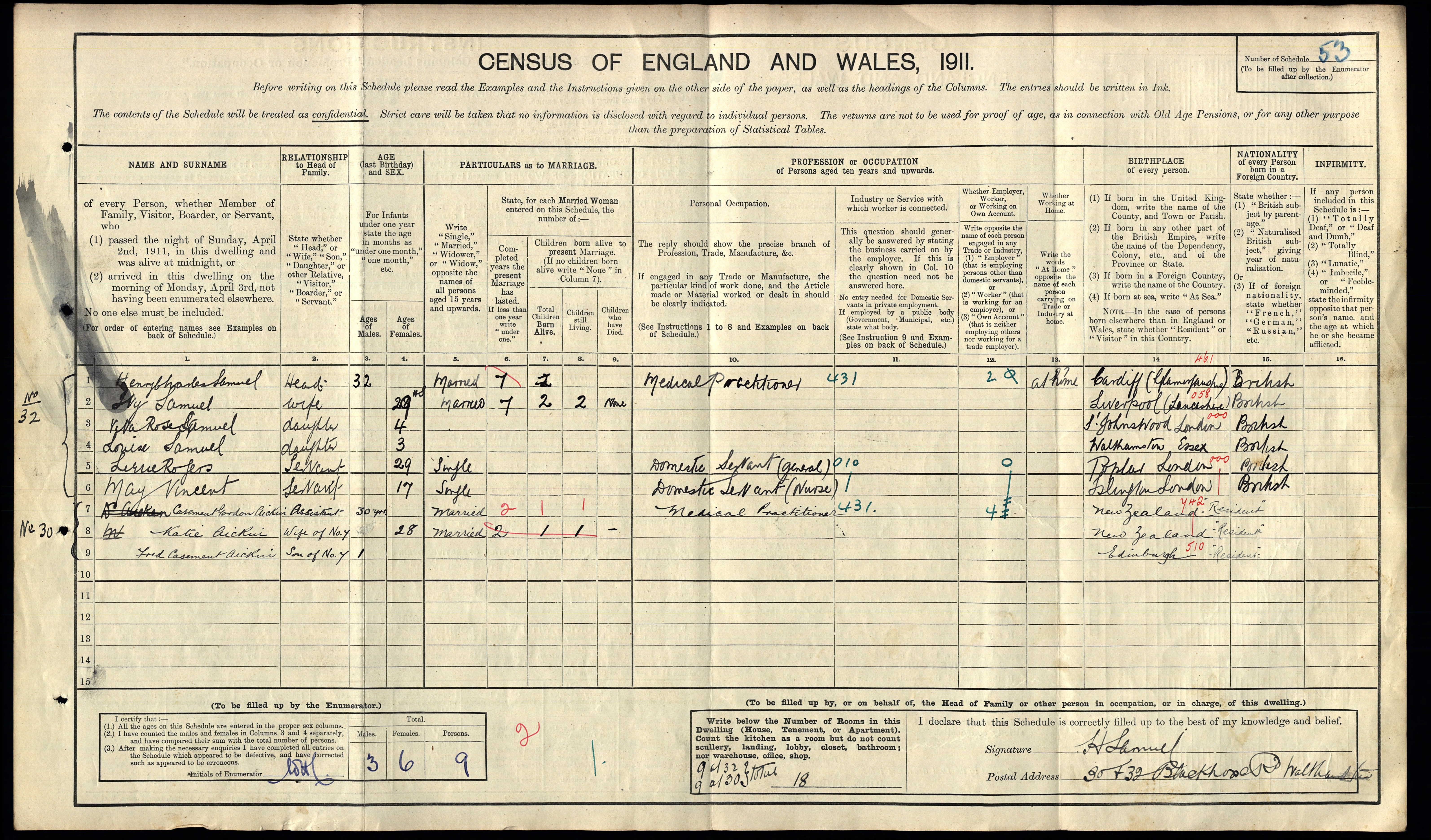 Henry Charles and Ivy Gertrude Samuel and family on 1911 census