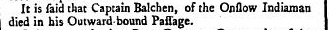 John Balchen's death reported June 1 1743