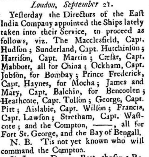 John Balchen Listed Sept 21 1727
