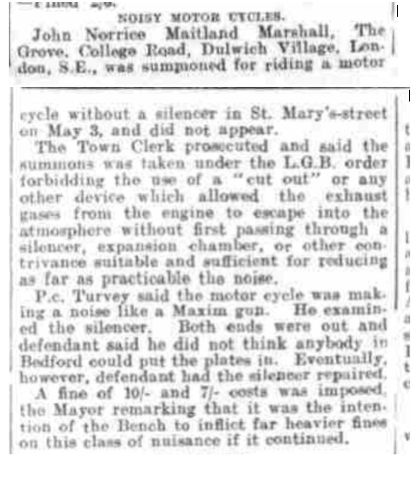 John Morrice Maitland Marshall Bedfordshire Times and Independent May 16, 1913