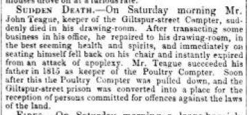 Death of John Teague July 19 1841