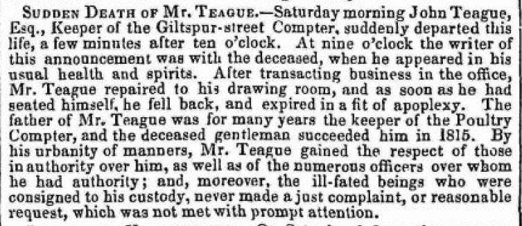 Death of John Teague July 19 1841a
