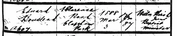 Edward Boustead's Burial Record