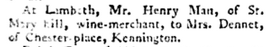 Marriage of Henry Man to Mrs Dennet