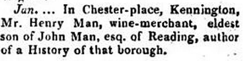 Obit Notice of Hnery Man Wine Merchant
