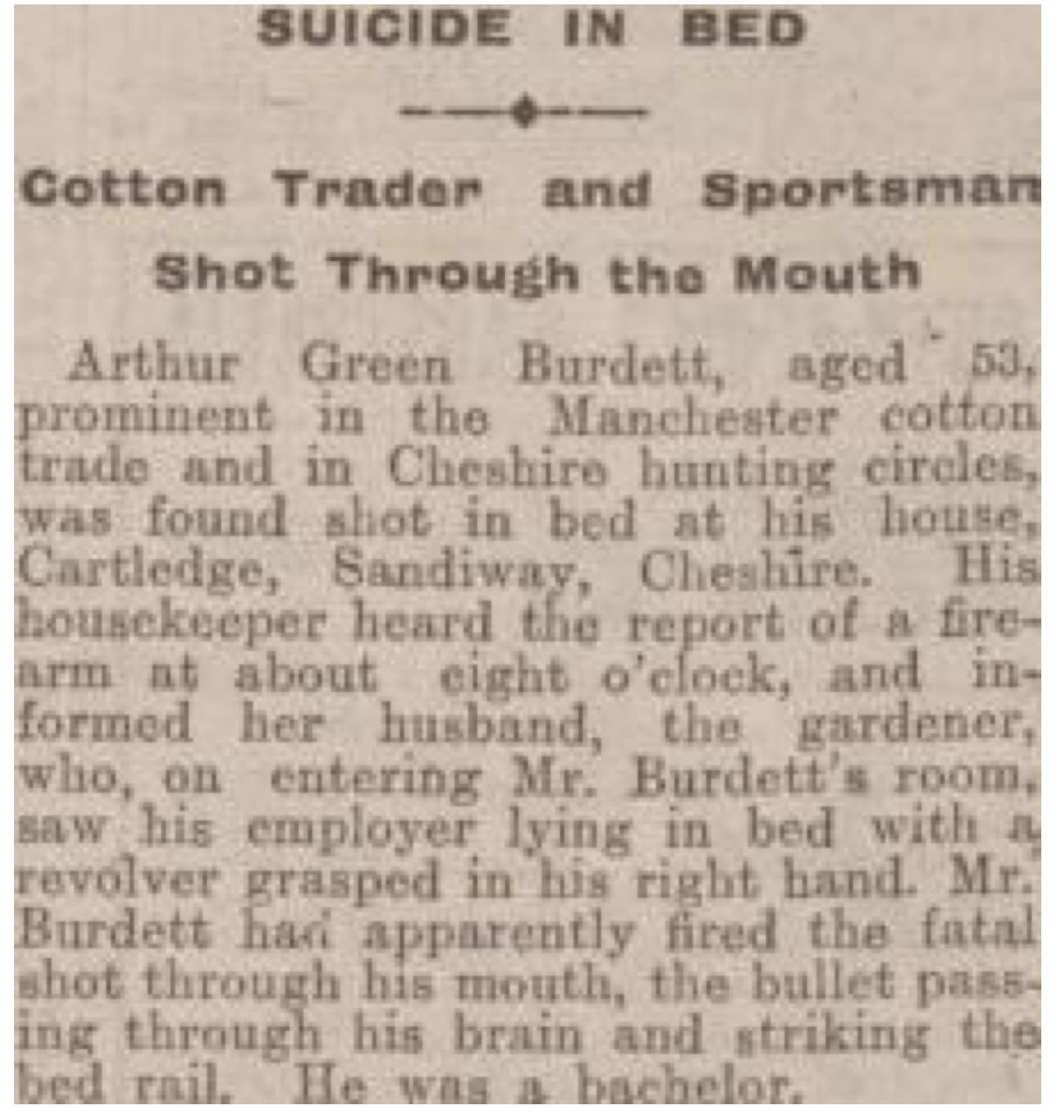 Arthur Green Burdett Suicide 1926