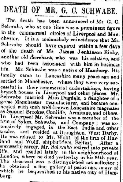 Death of GC Schwabe Liverpool Courier 13 Jan 1897