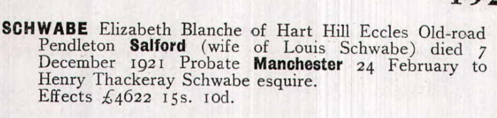 Elizabeth Blanche Schwabe Probate